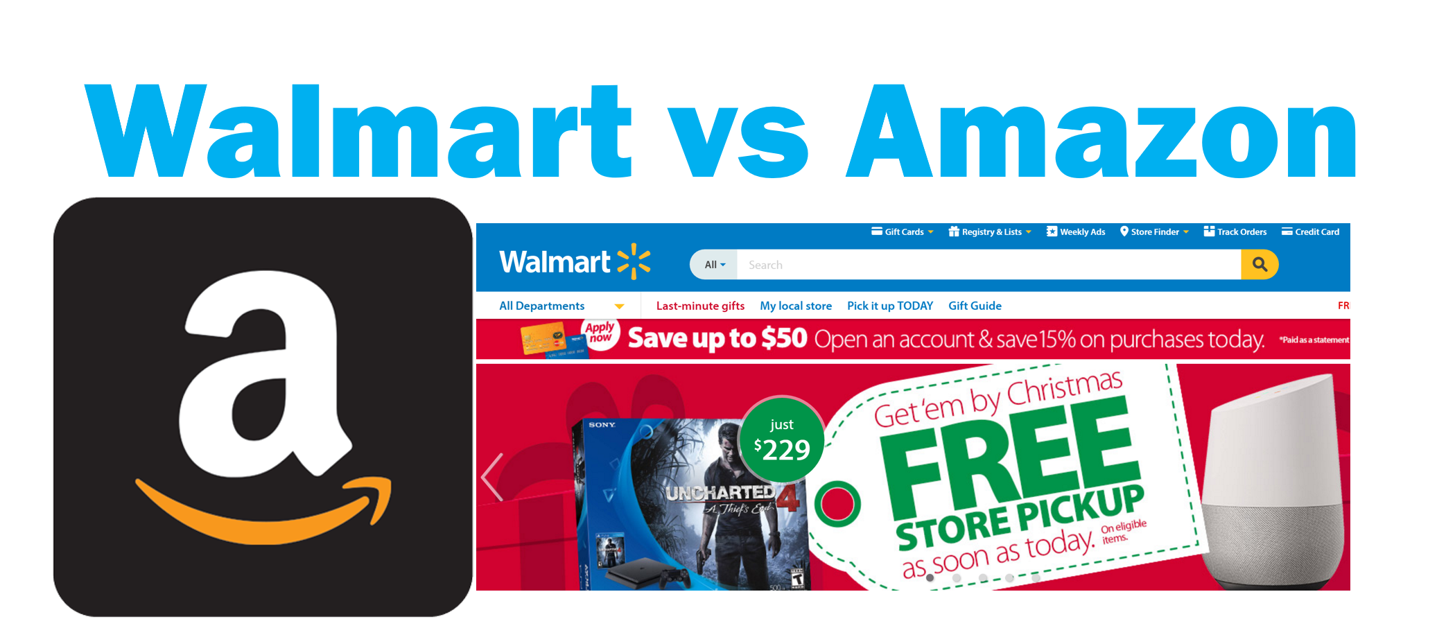 Number of products sold on Walmart.com vs Amazon.com – December 2016