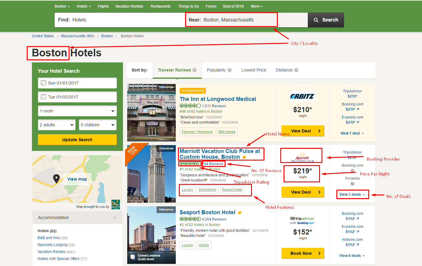 How to scrape TripAdvisor com for Hotel Data, Pricing and
