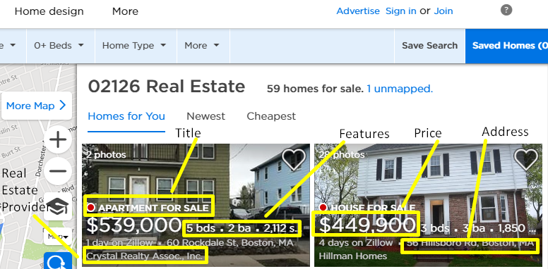 how to scrape real estate listings from zillow com using python and lxml
