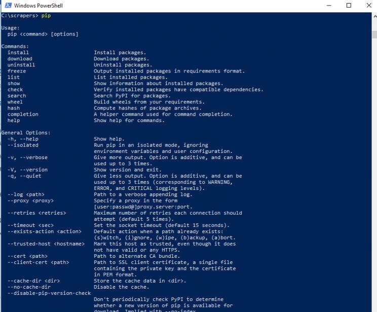 pip-version-windows-10-web-scraping