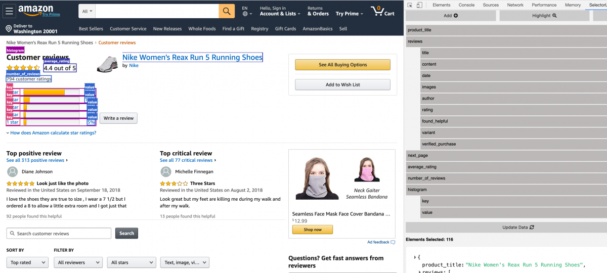 Amazon Reviews API Selectorlib Template