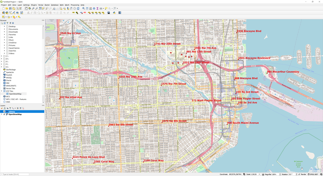 point data over OSM in QGIS
