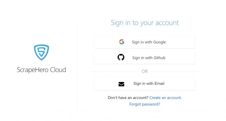 ScrapeHero-cloud's-login-page