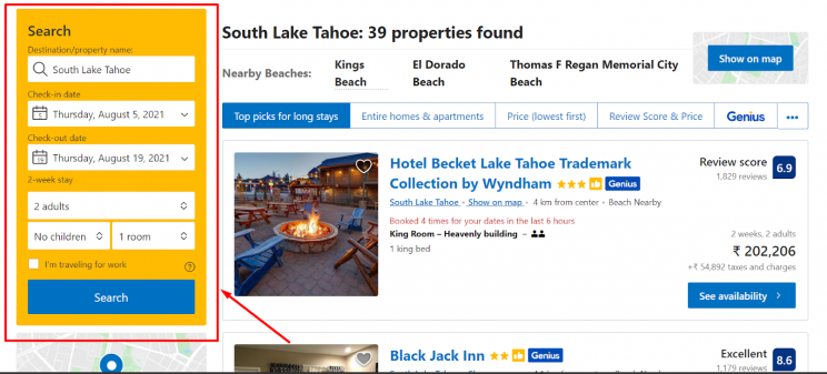 booking-com-list-of-properties-page