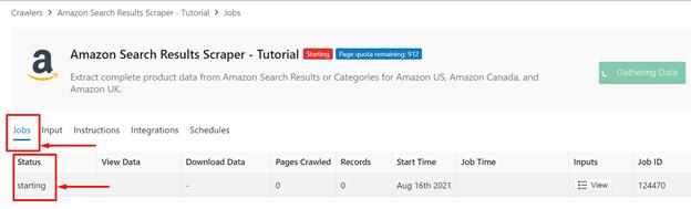 progress-of-the-Amazon-scraper-under-the-Jobs-tab