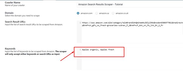 keywords-field-in-Amazon-scraper