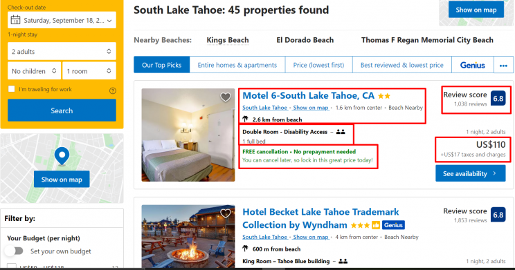 Data fields that can be scraped from Booking.com
