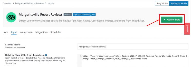 Gather data using the Tripadvisor hotel review scraper