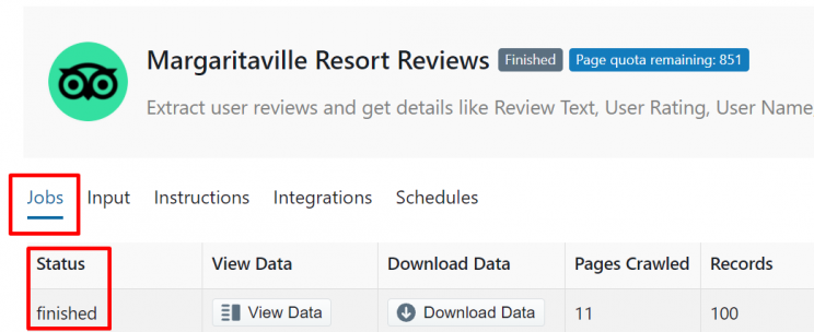 Check the status of your Tripadvisor hotel scraper