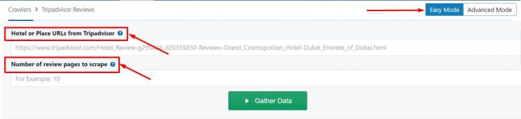 Data input fields for Tripadvisor crawler